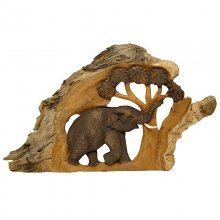 teak wood relief Elephant and Tree