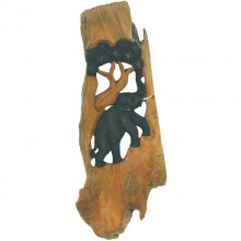 Elephant, tree, teak wood relief, 15 x 30 cm