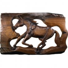 Wall relief Horse, Teakwood lackered