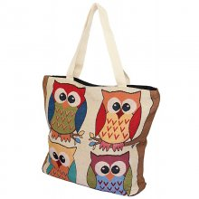 carrying bag Owls, 4 owls on branch