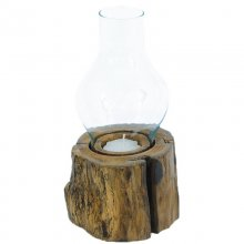 Windlight with Glas, Teakwood, Height without glass: 10 cm