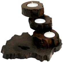 Tealight holder Teakwood, height: 13 cm